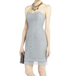 BCBG grey lace strapless mini dress BNWT! Size 2